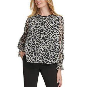🎁Dkny Leopard-Print Crinkle-Chiffon Top
